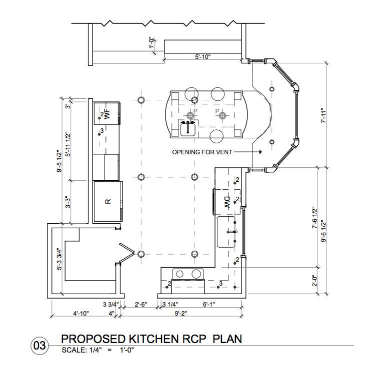 see above kitchen rcp plan showing all three types of lighting